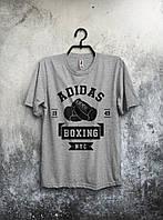 Модная футболка Adidas Boxing Адидас серая (большой принт) (РЕПЛИКА)