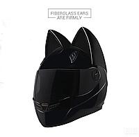 Мото Кото шлем с ушками женский MS-1650 (ABS, размер М-55-56, черный)