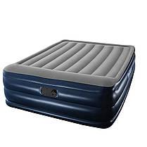 Надувная флокированная кровать Bestway 67528, серая, со встроенным насосом 220V, 203 х 152 х 56 см, фото 3