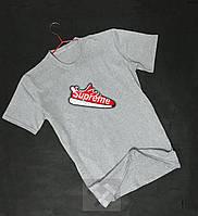 Серая молодежная футболка Supreme Суприм с бархатным нанесением (РЕПЛИКА), фото 1
