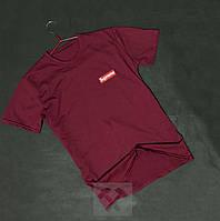 Бордовая футболка Supreme Суприм с бархатным нанесением (РЕПЛИКА), фото 1