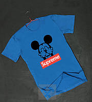 Футболка для парня Supreme Суприм голубая с бархатным нанесением (РЕПЛИКА), фото 1
