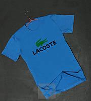 Чоловіча футболка блакитна Lacoste Лакост з оксамитовим нанесенням (РЕПЛІКА), фото 1