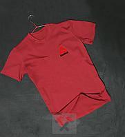 Футболка чоловіча з оксамитовим принтом Reebok Рібок червона (РЕПЛІКА), фото 1