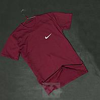 Спортивная бордовая мужская футболка Найк Nike бархатный принт (РЕПЛИКА), фото 1