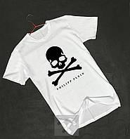 Футболка біла Philipp Plein Філіп Плейн череп оксамитовий принт (РЕПЛІКА), фото 1