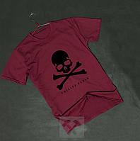 Бордова чоловіча футболка Philipp Plein Філіп Плейн череп оксамитовий принт (РЕПЛІКА), фото 1