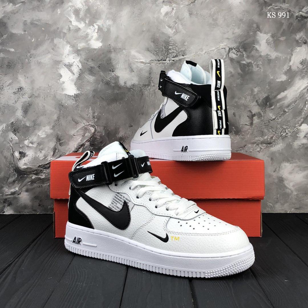 Высокие мужские кроссовки Nike Air Force High, белые / чоловічі кросівки Найк (ТОП реплика ААА+)