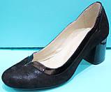 Туфли женские велюровые на среднем каблуке от производителя модель КС21, фото 2