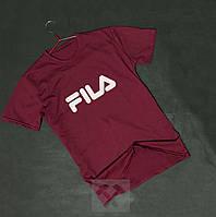 Мужская бордовая футболка Fila Фила бархатный принт (РЕПЛИКА), фото 1