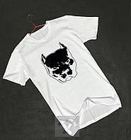 Белая футболка Питбуль бархатный принт (РЕПЛИКА), фото 1