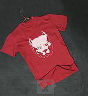 Червона футболка Пітбуль оксамитовий принт (РЕПЛІКА), фото 1