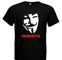 Качественная Черная Футболка молодежная с рисунком Vendetta Вендетта все размеры