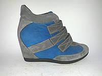 Замшевые женские стильные удобные сникерсы ботинки на танкетке 40р Gama
