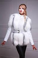 Меховая куртка-жилет из белой полярной лисы, рукава кожаные съемные, фото 1