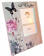 Фоторамка романтическая с бабочкой и розой в стиле Прованс 24х20 см