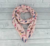 Итальянский шарф Girandola 0001-120 нежно-розовый с принтом перышки, коттон 80%, шелк 20%, фото 1