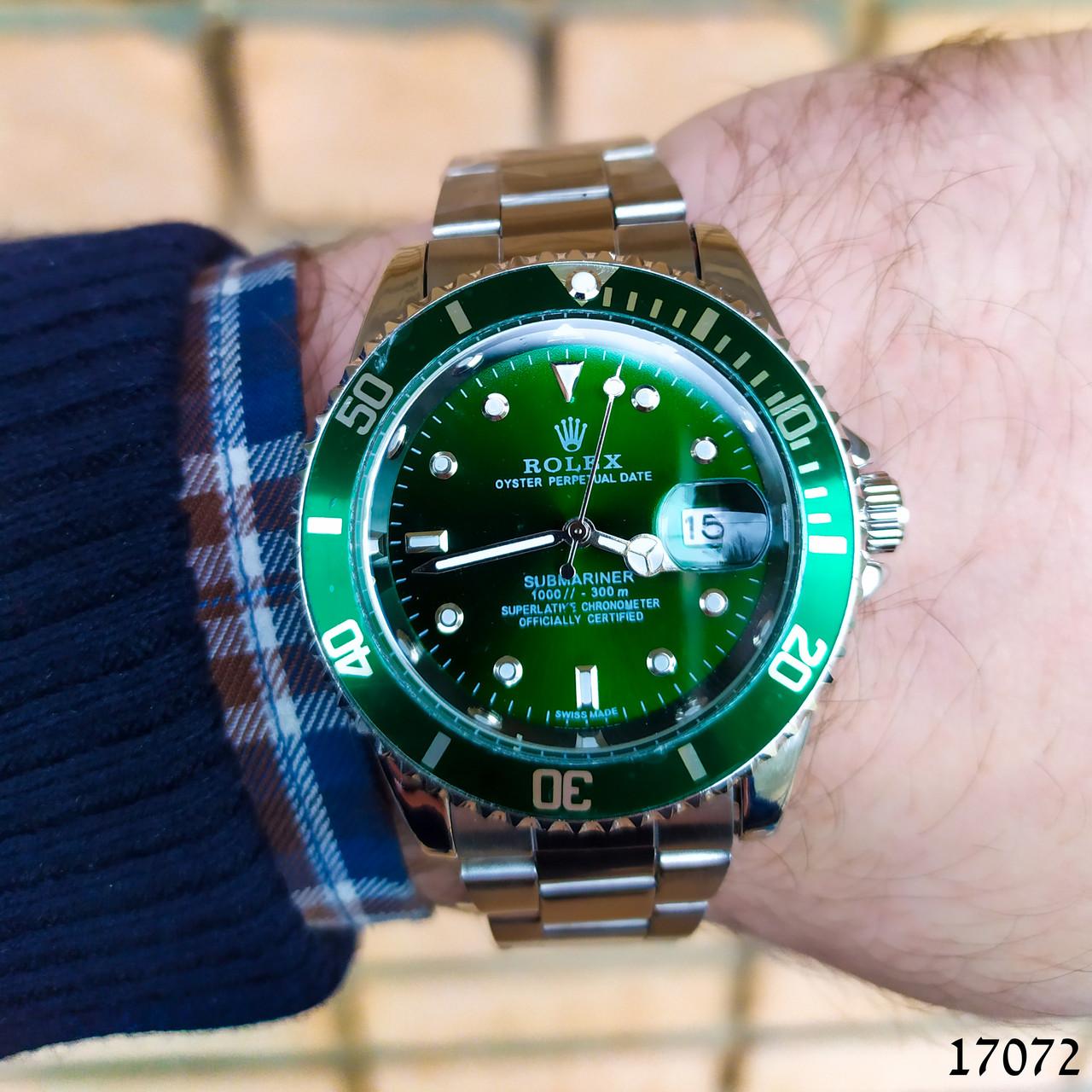 Часы мужские в стиле Rolex. Мужские наручные часы зеленые. Часы с зеленым циферблатом Годинник чоловічий
