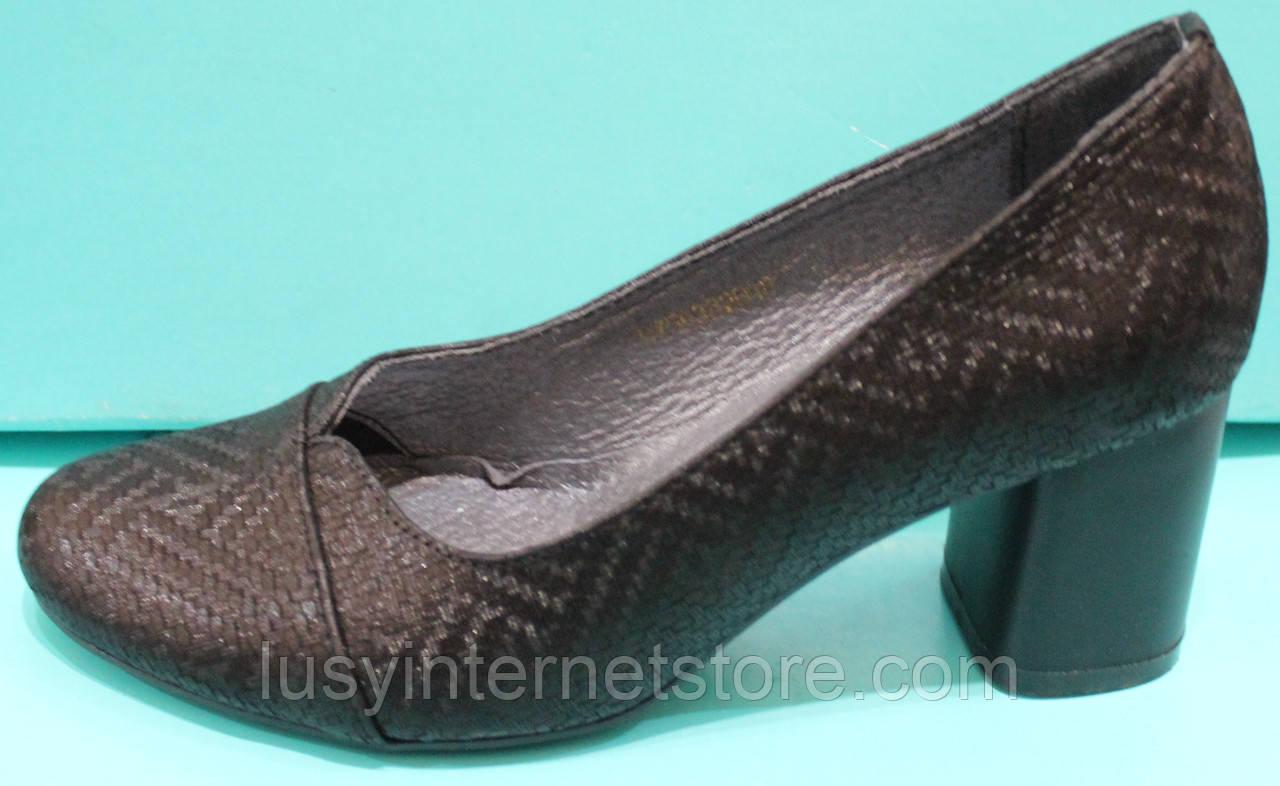 Туфли женские кожаные на среднем каблуке от производителя модель КС83