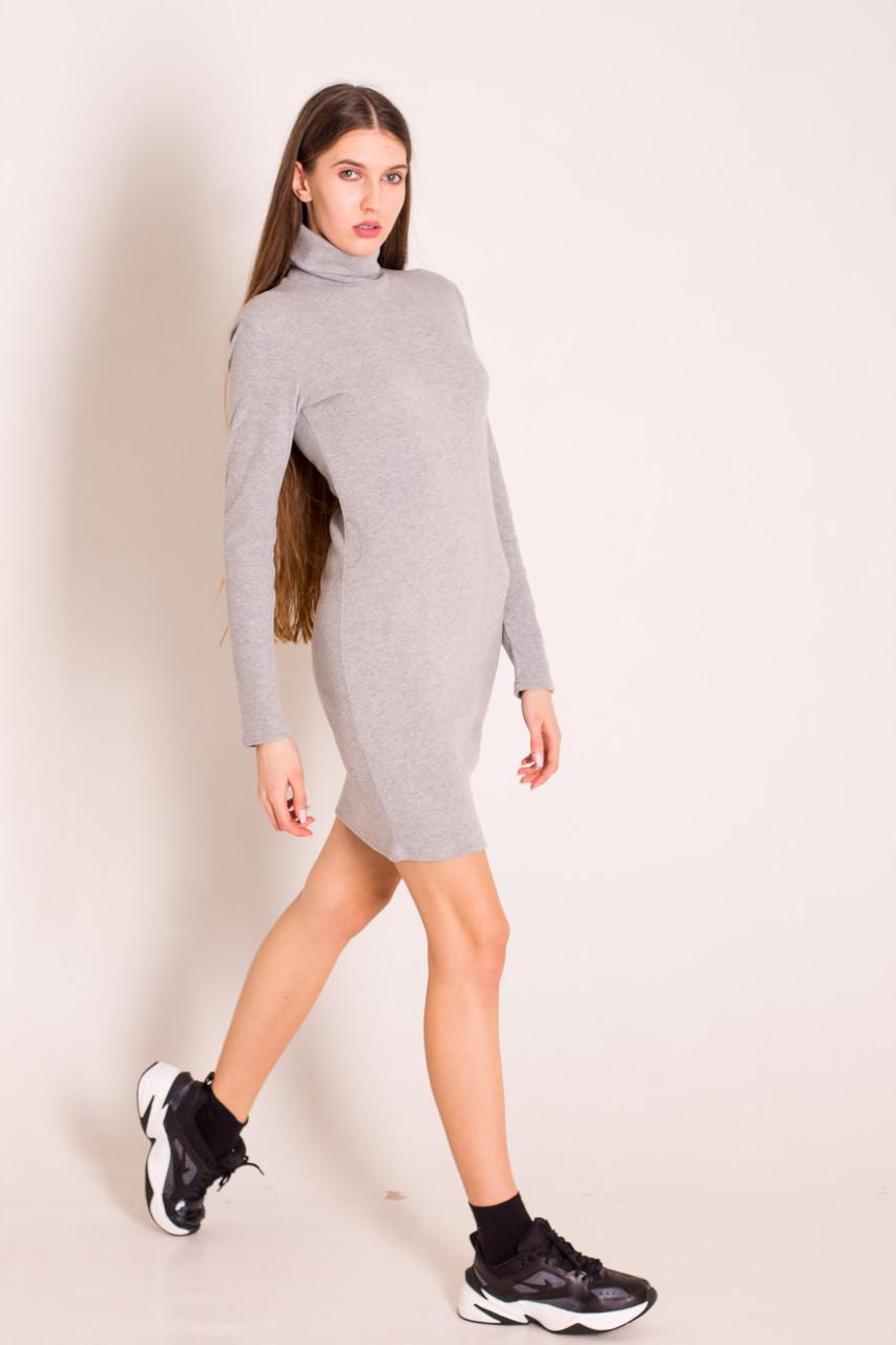 Платье короткое теплое серое с воротом водолазка