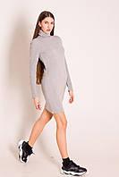 Платье короткое теплое серое с воротом водолазка, фото 1