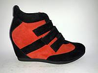 Замшевые женские модные сникерсы ботинки на танкетке 40р Gama