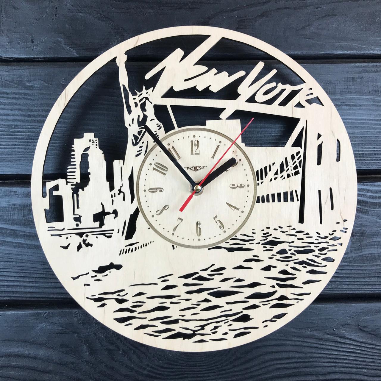 Настенные деревянные часы в интерьер «Нью Йорк»