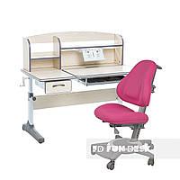 Комплект для школьников растущая парта Cubby Ammi Grey + ортопедическое кресло  FunDesk Bravo Pink