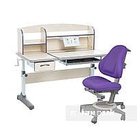 Комплект для школьников растущая парта Cubby Ammi Grey + ортопедическое кресло FunDesk Bravo Purple