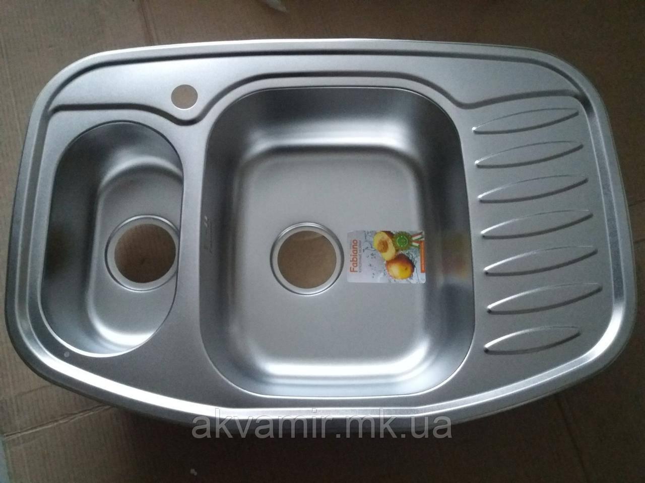 Мийка Fabiano 78x51x15 кутова Microdecor нерж. сталь 0.8 мм (Туреччина)