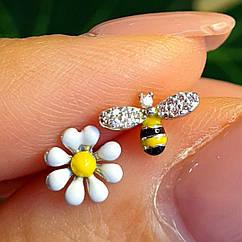 Серебряные детские пуссеты с эмалью Пчелка и Ромашка