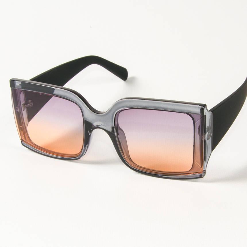 Оптом женские солнцезащитные квадратные очки полупрозрачные (2425/3) Фиолетово-желтые, фото 2