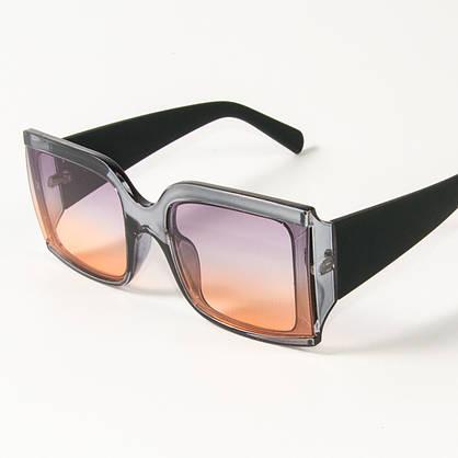 Оптом женские солнцезащитные квадратные очки полупрозрачные (2425/3) Фиолетово-желтые, фото 3