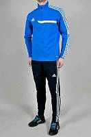 Спортивный костюм Адидас, мужской костюм Adidas, синяя кофта, черные штаны, с лампасами, трикотажный