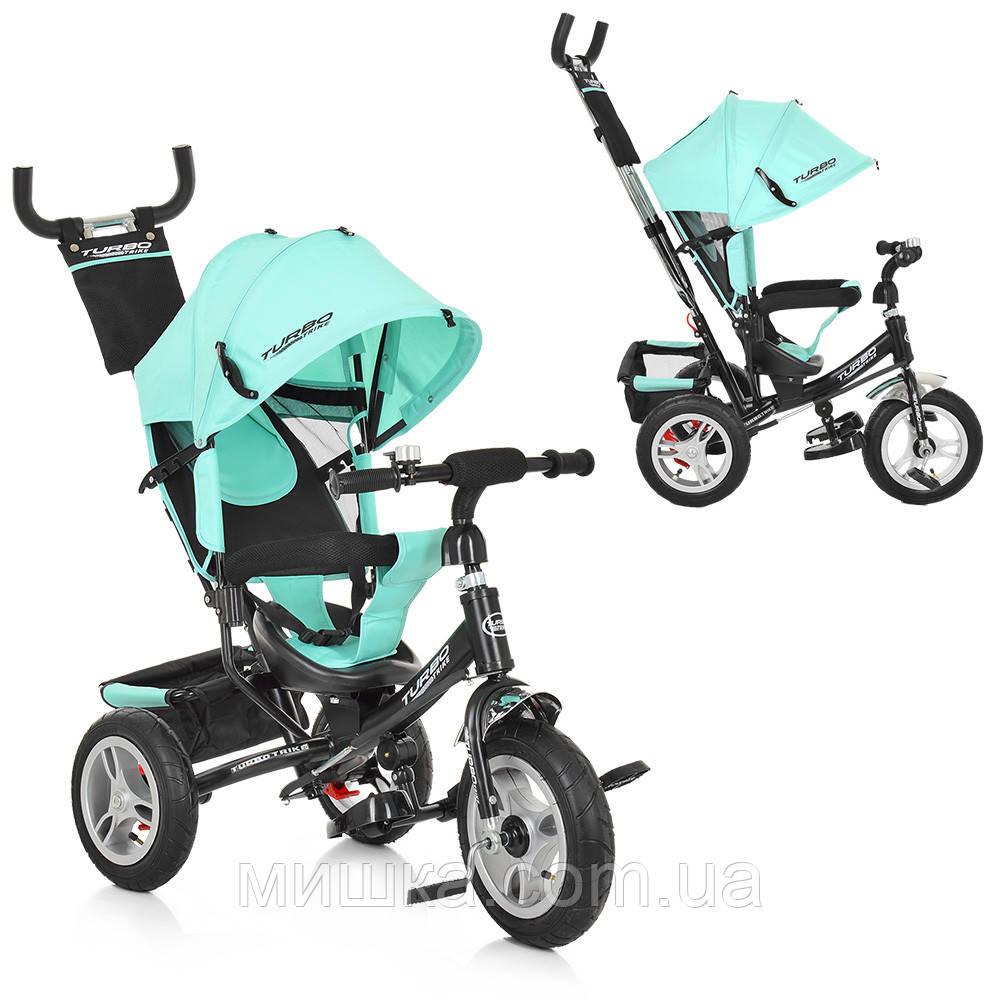 Дитячий велосипед M 3113A-15 триколісний, колеса надувні, бірюзовий