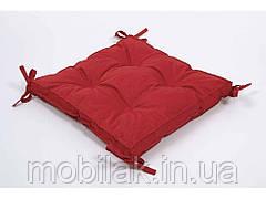 Подушка на стілець 40х40х5 Optima із завязками червоний ТМLotus
