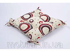 Подушка на стілець 45х45 Circle із завязками червоний ТМLotus