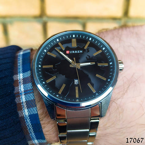 Часы мужские в стиле Curren. Мужские наручные часы серебристые. С черным циферблатом Годинник чоловічий, фото 2