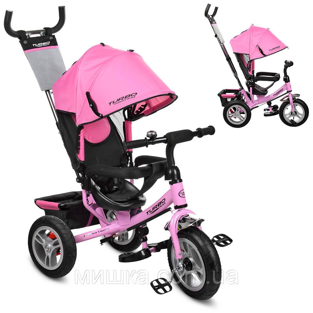 Дитячий велосипед M 3113A-10 триколісний, колеса надувні, рожевий