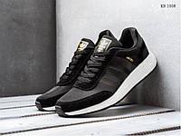 Мужские кроссовки  Adidas Iniki Runner Boost, замша, сетка, пена, черные с белым 42