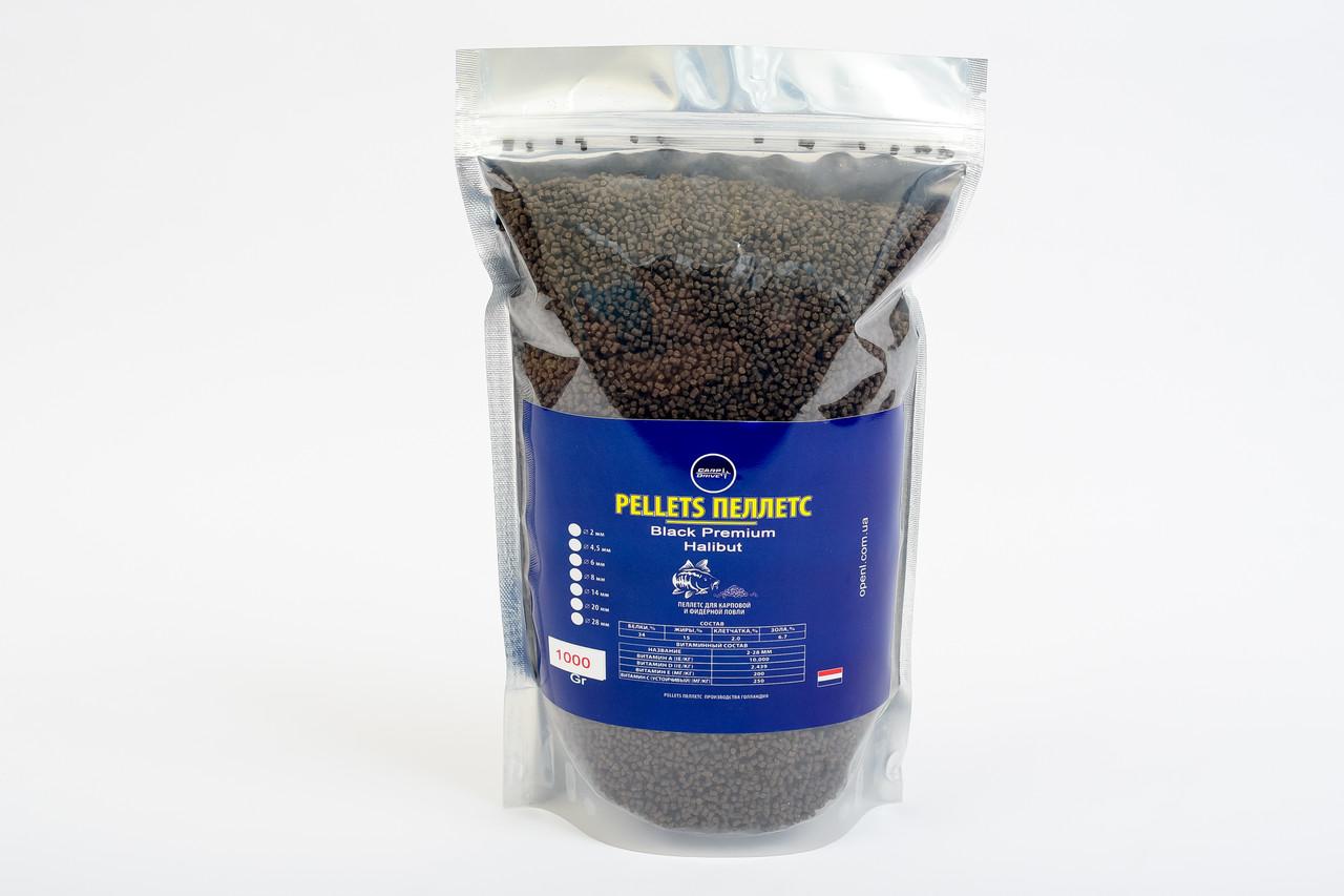 Методный пеллетс, пеллетс на флет, метод пеллетс, Carp Drive Black Premium Halibut (премиум ) 2 мм 1000гр