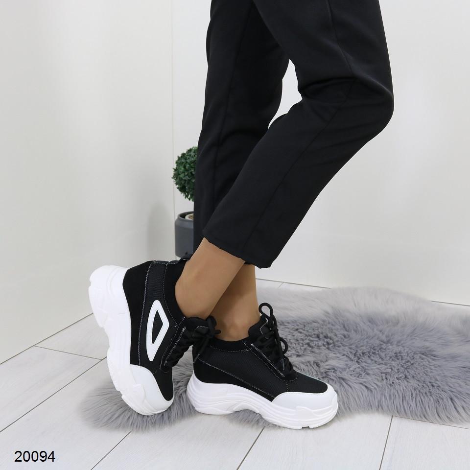 Женские кроссовки сникерсы на платформе и танкетке, А 20094