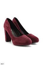 Туфли женские бордовые - марсала эко-замш на каблуке 10 см