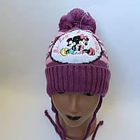 Детская вязаная шапка для девочки двойная на завязке 2-3 лет оптом