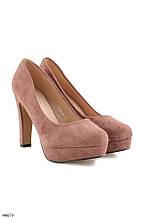 Туфли женские розовые - пудра эко-замш на каблуке 11 см