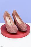 Туфли женские розовые - пудра эко-замш на каблуке 11 см, фото 2