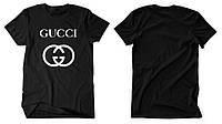 """Размер XL Футболка Gucci черная с белым логотипом, унисекс (мужская,женская,детская) """""""" В стиле Gucci """""""""""