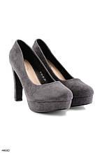 Женские стильные туфли на каблуке 11 см серые эко-замша