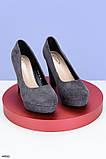Женские стильные туфли на каблуке 11 см серые эко-замша, фото 2