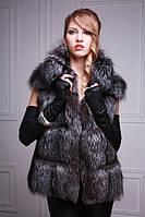 Жилет жилетка из лисы чернобурки, длина 65 см Silver fox fur vest